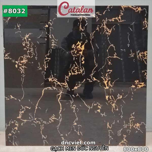 gạch đen chớp vàng bóng catalan 8032